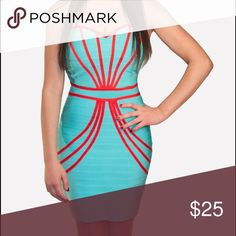 SALE Blue & Red Bandage Dress Price drop ! Super Fun! Super Different! Pair it up w our red blazer . 90% polyester, 10% spandex WOW couture Dresses