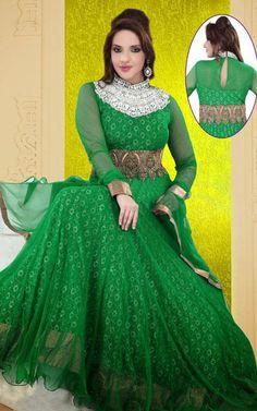 USD 303.89 Green Net Floor Length Abaya Style Suit 37951