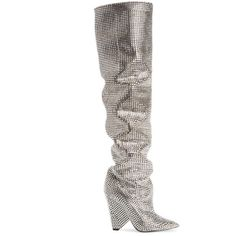 Women's Saint Laurent Niki Crystal Embellished Boot ($10,000) ❤ liked on Polyvore featuring shoes, boots, crystal silver, ruched boots, over the knee shoes, scrunch boots, yves saint laurent shoes and above-knee boots