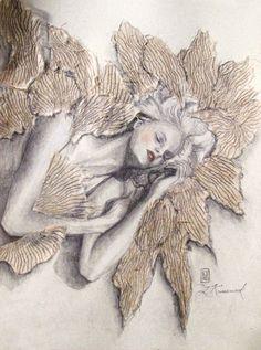 Winged Dreams - pencil, pastel and rice paper - Laura Krusemark #angel#art#dreams#love#beauty