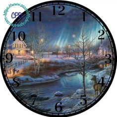 """Dark Blue Winter Night with a Deer & Old House Art - -DIY Digital Collage - 12.5"""" DIA for 12"""" Clock Face Art - Crafts Projects by CocoPuffsDesigns on Etsy"""