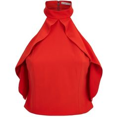 Alice + Olivia Cabot Cold Shoulder Ruffle Crop Top (875 BRL) ❤ liked on Polyvore featuring tops, crop top, shirts, shirt crop top, red ruffle top, cold shoulder shirt, ruffled shirt and cut-out crop tops