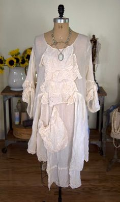 Magnolia Pearl Voile French Farm Dress with Eyelet Lace