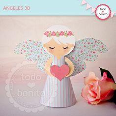 Shabby Chic aqua+rosa: angelitos 3D - Todo Bonito