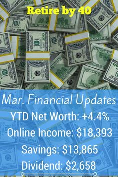 We had a great March. Our active and passive income streams are doing very well and our expenses were low. We're in a great stretch and I hope it continues. via @retireby40