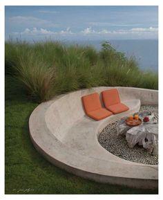 Concrete Patios, Concrete Bench, Concrete Furniture, Concrete Garden, Concrete Design, Outdoor Fire, Outdoor Seating, Outdoor Decor, Backyard Seating