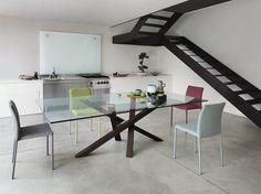 Mesa de jantar retangular de madeira e vidro Coleção SHANGAI by RIFLESSI