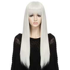 DAOTS Wig Long Straight Silver White Wigs for Women, Free...