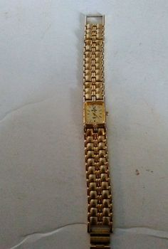 Elgin Womans Gold Tone Watch EM820 Analog Needs Battery Broken Bezel Read Disc #Elgin #Dress