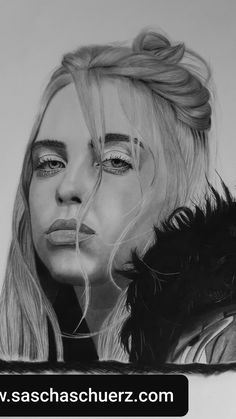 Drawing Tutorials For Beginners, Very Beautiful Woman, Find Picture, Billie Eilish, Cool Drawings, Sketches, Fan Art, Black And White, Portrait