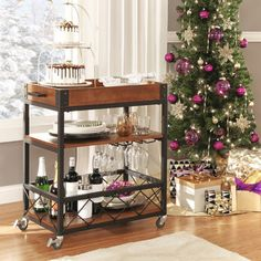 TRIBECCA HOME Myra Rustic Mobile Kitchen Bar Serving Wine Cart - Overstock™ Shopping - Great Deals on Tribecca Home Kitchen Carts