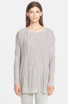 Vince Waterfall Ribbed Crewneck Sweater