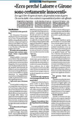 Marò, intervista odierna a Toni Capuozzo su Il Giornale