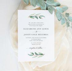 Printable Greenery Wedding Invitation | Eucalyptus, Watercolor, Simple, Calligraphy