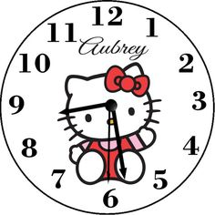 Hello Kitty Inspired Personalized Wall Clock Personalized Clocks, Hello Kitty, Inspired, Handmade Gifts, Wall, Crafts, Inspiration, Etsy, Design