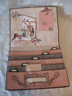 Graphic 45 A Ladies Diary Purse organizer,boxes journal projects - tutorial Video Hi everyone. I had so fun creating this di. Graphic 45, Mini Scrapbook Albums, Scrapbook Paper, Mini Albums Scrap, Scrapbook Supplies, Altered Books, Altered Art, Envelope Book, Paper Art