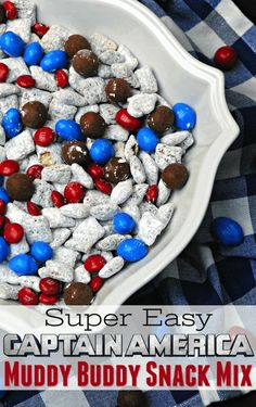What makes it the best Captain America snack mix recipe is the Marvel spin on Muddy Buddies. This chocolate and peanut butter combo melts and crunches!