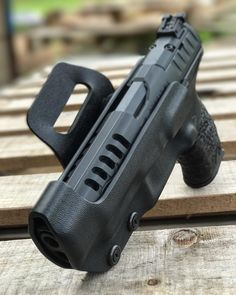 Custom Race Holster for USPSA. I love this gun & holster! Tactical Holster, Tactical Gear, Armas Airsoft, Paddle Holster, Custom Holsters, Diy Projects For Men, Everyday Carry Gear, Firearms, Shotguns
