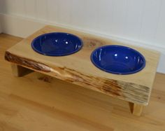 "Dog dish stand ""Medium"" Blue Country dog bowl stand crafted from live edge Cedar or Fir with cedar stands, hard to tip, two enameled bowls"