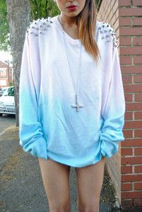 What to do with that over-size white sweatshirt I never wear: dip dyed ombre pastel pink blue (without the studs)