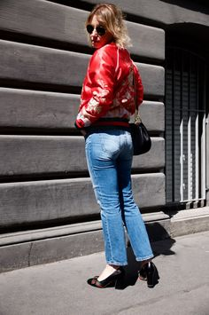 Red bomber jacket and Gucci shoes - claudinesroom blog