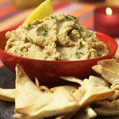 Mediterranean Hummus  Recipe Appetizers with chickpeas, Lipton® Recipe Secrets® Onion Soup Mix, olive oil, lemon juice, finely chopped fresh parsley, sesame seeds