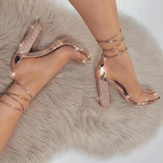 Gold Lace Up Heels, Gold Prom Shoes, Rose Gold High Heels, Gold Dress Shoes, High Heels For Prom, Tie Up Heels, Cute High Heels, Sparkly Heels, Wedding Shoes Heels