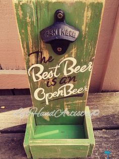 """If you love beer, this opener is for you! This item was completed free-handed, as well as painted with Chalk paints. With heavy distressing and a coat of sealer, this vintage opener is ready for its new home! *Roughly 14""""Hx6.5""""W. *Cap catcher is ..."""