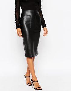 Image 4 ofASOS PU Pencil Skirt with Pocket Detail