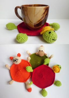 Crochet Coaster turtle Amigurumi turtle Cups by FunnyAmiToys