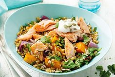 Baked salmon and freekeh salad with labne