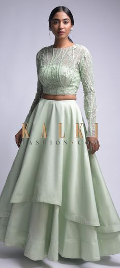 Mint Green Lehenga Choli With Floral Embroidery Online - Kalki Fashion Party Wear Indian Dresses, Indian Fashion Dresses, Indian Gowns Dresses, Dress Indian Style, Indian Designer Outfits, Indian Outfits, Designer Dresses, Green Lehenga, Floral Lehenga