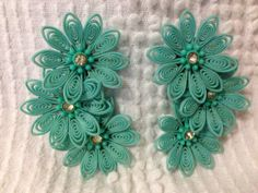Vintage Floral Turquoise Dress Clips by RebornCool on Etsy, $15.00