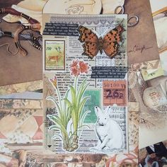 Journal Paper, Junk Journal, Mail Art Envelopes, Page Decoration, Glue Book, Altered Book Art, Collage Art Mixed Media, Postcard Art, Collage Artists