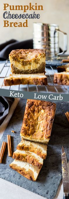 The Best Keto Bread Recipes: 30 Recipes You Won't Believe are Low-Carb - Perfect Keto Low Carb Pumpkin Bread Recipe, Low Carb Pumpkin Cheesecake, Low Carb Pumpkin Pie, Healthy Pumpkin Bread, Healthy Breads, Pumpkin Loaf, Keto Cheesecake, Low Carb Bread, Keto Desserts