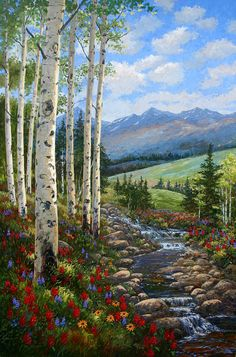 Paint by Number Kit - Springtime Mountain Landscape. A great Christmas Gi Mountain Landscape, Landscape Art, Landscape Paintings, Landscapes To Paint, Beautiful Paintings, Beautiful Landscapes, Scenery Paintings, Paint By Number Kits, Pictures To Paint