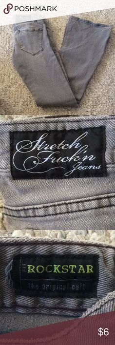 Grey skinny flair jeans sz 27 5 pocket jean with a flair.  These are skinny legs with a flair bottom lip service Jeans Skinny