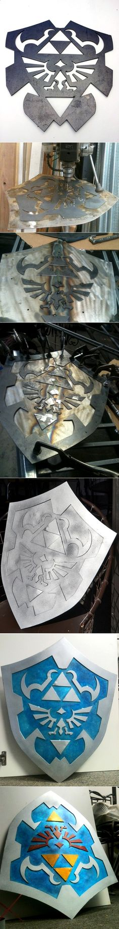 The process of making Link's hylian shield from Zelda : Ocarina of Time by manhattanphd and via @L a guarida geek - #DIY cosplay prop.