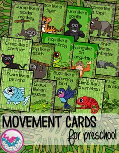 These rain forest animals themed movement cards will keep your students active while they're excited for the weather to warm up! Keep those excited little ones busy indoors when it's too rainy to go outside! All while teaching them about different actions, animal names and improving their gross motor skills! Print and cut these out, laminate them and keep them all together on a metal ring. Put on some music and let your kids dance!