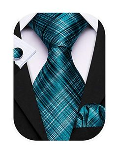 Barry.Wang Designer Classic Ties for Men Set Formal Pocket Square Cufflink Check Plaid Barry.Wang Ties That Bind, Business Shirts, Men Formal, Man Set, Black Gift Boxes, Tie And Pocket Square, Linen Pants, Silk Ties, Black Tie