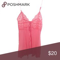 VS chemise lingerie Victoria's Secret sexy lingerie  Chemise Slip Great condition Perfect for Valentine's Day  Beautiful pink color  See through lace and opened slit in front (can tie together) Adjustable straps Size medium Victoria's Secret Intimates & Sleepwear Chemises & Slips