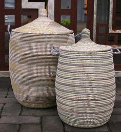 Large Lidded African Baskets