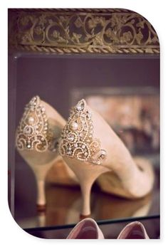 Wedding shoes. Stylish flourishes on the heel and sensible height. Perfect for dancing the night away