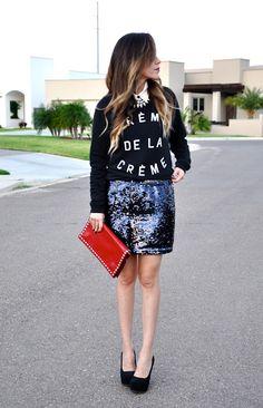 sequin skirt and sweatshirt
