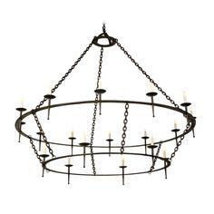Enormous Two Tier Iron Chandelier, France circa 1920