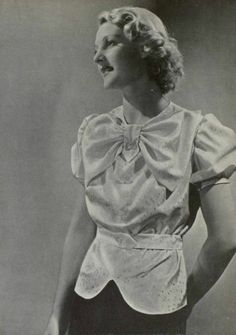 Blouse of brocated taffeta trimmed with cristal buttons, L'art et la mode magazine n°19, 1935