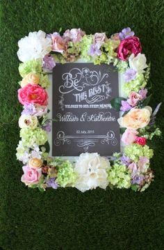アートフラワーたっぷりの 百花繚乱の美しいウェルカムボード  Clay Art Wedding http://clayartwedding.net/