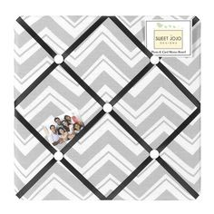 Create a stylish, contemporary retreat for your child with the Zig Zag Collection from Sweet Jojo Designs. Featuring grosgrain ribbon detailing, this memo board lets you make your own personal work of art with meaningful photos, notes, and memos. Kids Wall Decor, Art Wall Kids, Wall Art Decor, Zig Zag Wall, Fabric Memo Boards, Meaningful Photos, Chevron Fabric, Gray Chevron, Metal Hangers