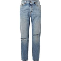 Saint Laurent Distressed boyfriend jeans (€535) ❤ liked on Polyvore featuring jeans, pants, bottoms, blue boyfriend jeans, distressed jeans, blue distressed jeans, distressed boyfriend jeans and ripped denim jeans
