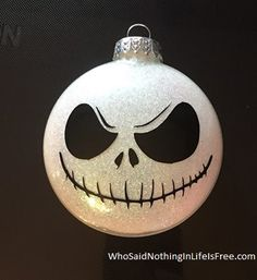 Nightmare Before Christmas Jack Skellington Glitter Glass Christmas Ornament